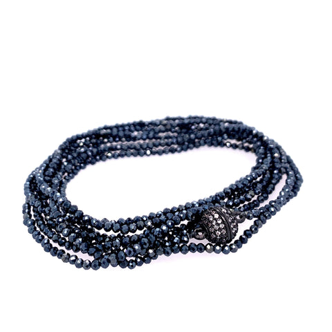 "Rare Ombre Sapphire Multi Wear 52"" Long Necklace or Wrap Bracelet google facebook instagram spinel black oxi"