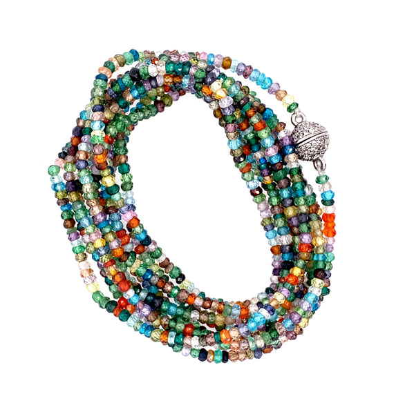 colorful pinterest Sapphire Faceted Infinity Long Necklace google youtube facebook lapis aquamarine multi stone semi precious turquoise spinel black blue apatite chrysocolla kynite