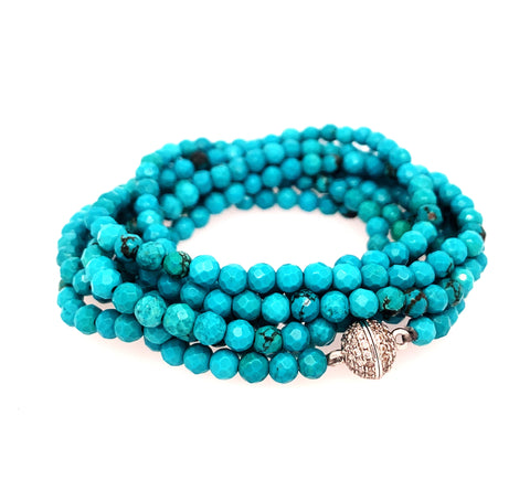 "Turquoise Faceted Multi Wear 52"" Long Necklace or Wrap Bracelet, Silver"