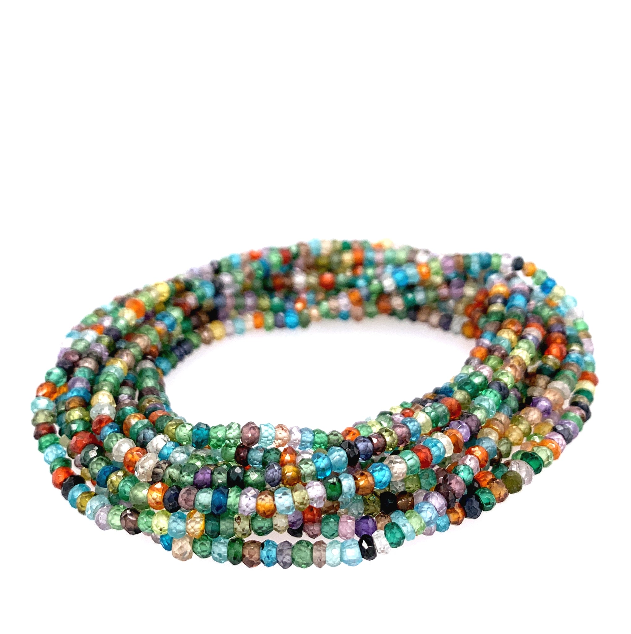"Multi Color (Blues) Semi-Precious Small Faceted 68"" Infinity Long Necklace"