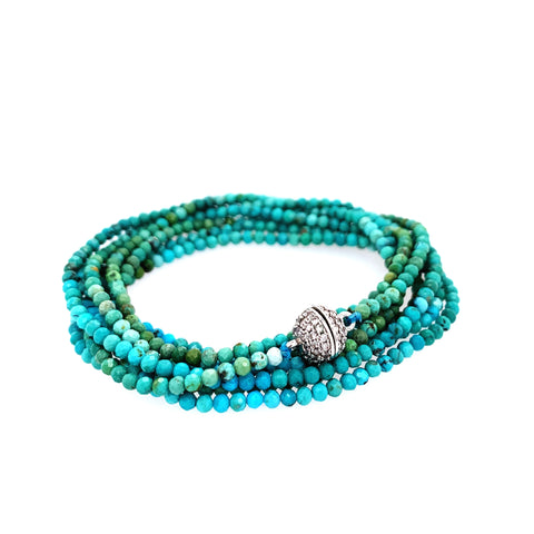 "Ombre Turquoise Faceted Multi Wear 52"" Long Necklace or Wrap Bracelet"