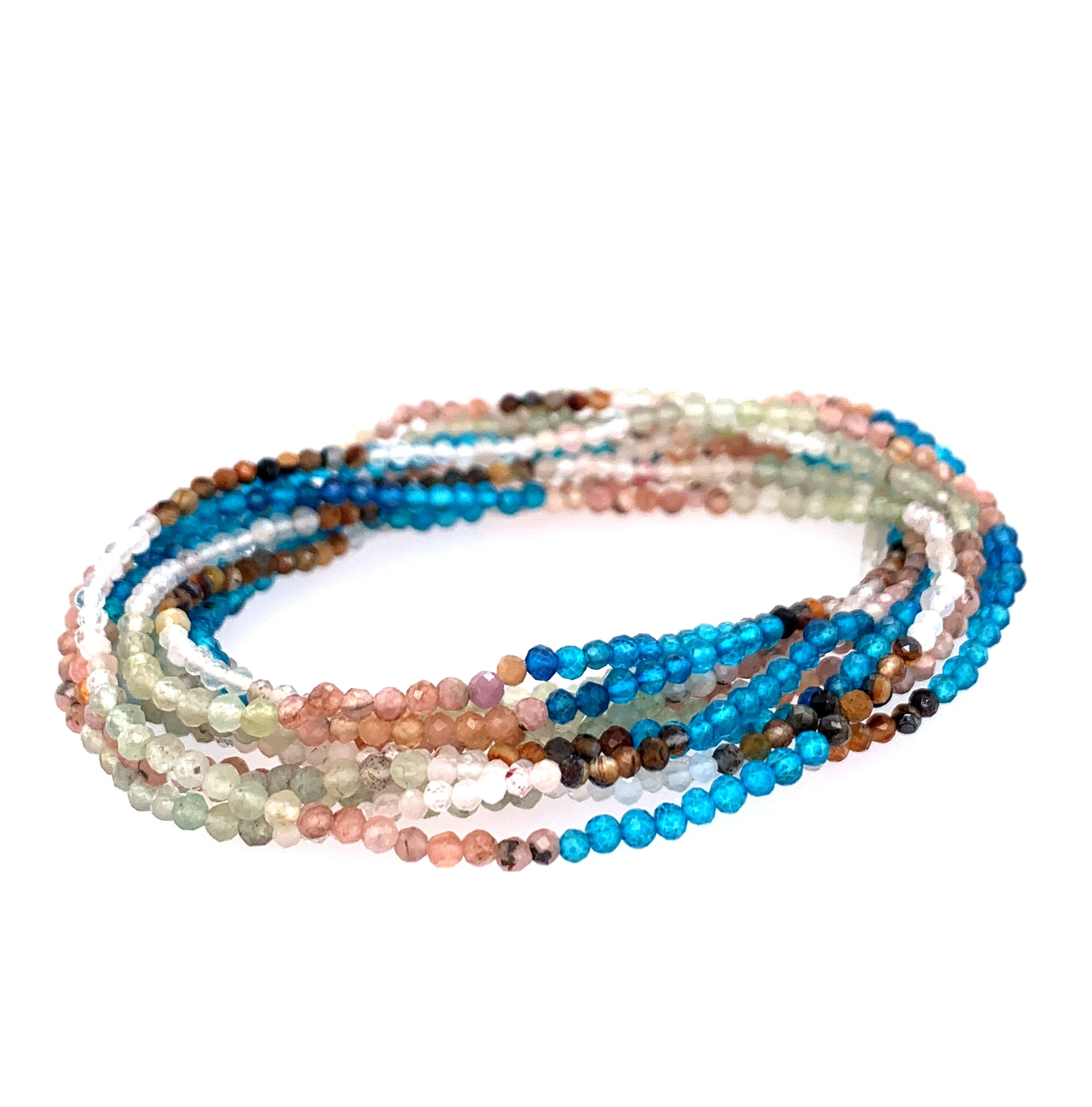 "Moonstone & Apatite Aztec Faceted 68"" Long Infinity Necklace"