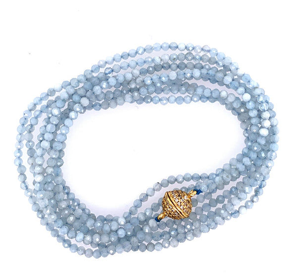 "Sapphire Faceted 100"" Infinity Long Necklace google youtube facebook lapis aquamarine multi stone semi precious turquoise"