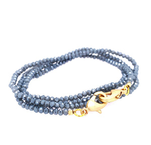 Mask Holder, easily convertible into Necklace or Bracelet Gorgeous sparkly faceted Crystal 27 Inches Can be worn as necklace or wrap on Wrist 4 times clasping Lobster claws together Available in Gold and Silver GREY NUDE NAVY PINK black mauve cement brown