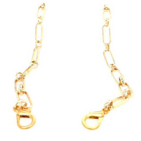 Mask Holder, easily convertible into Necklace 14kt Electroplated Brass - Triple plated, will not change color 27 Inches Can be worn as necklace Available in Gold