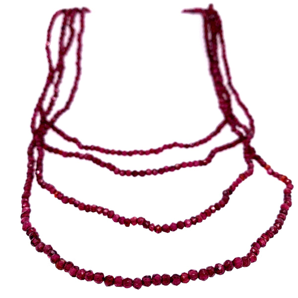 This Glittering Garnet infinity necklace can be doubled 3 or 4 times easily      AAA Semi Precious Faceted Stones     68 Inches     Faceted infinity necklace