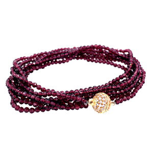 plum garnet      Gorgeous Sparkly AAA Semi Precious Faceted Stones     52 Inches     Can be worn as necklace or wrap on Wrist 7 times using strong Magnet google