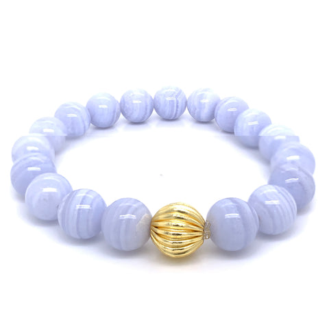Blue Lace Agate Single Stranded Stone Bracelet