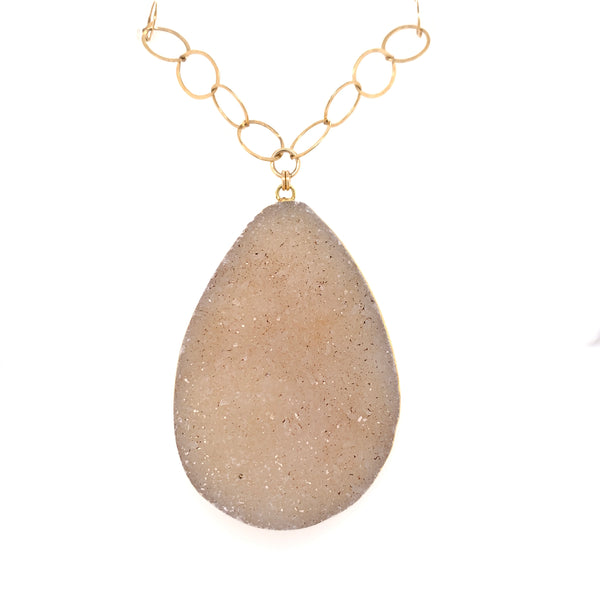 Druzy Quartz Jumbo Teardrop Pendant Necklace - Gold