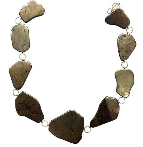 Pyrite Link Goddess Collar Necklace
