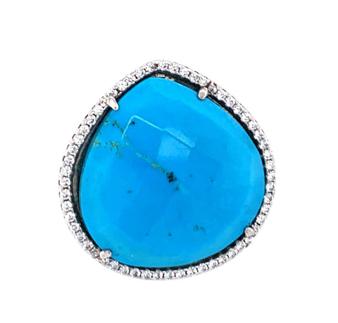 Turquoise Square Cut CZ Sterling Silver Ring google pinterest facebook