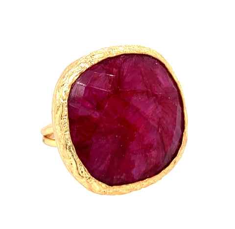 Indian Ruby Faceted Large Cushion Cut Gold Ring google facebook instagram