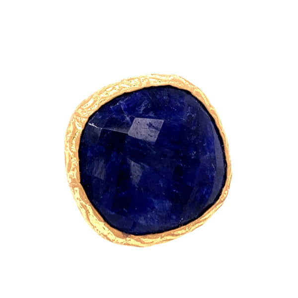 Lapis Large Square Cut Gold Ring