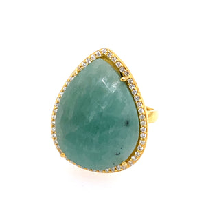 Amazonite Teardrop CZ 14kt Gold Vermeil Ring silver adjustable google pinterest facebook