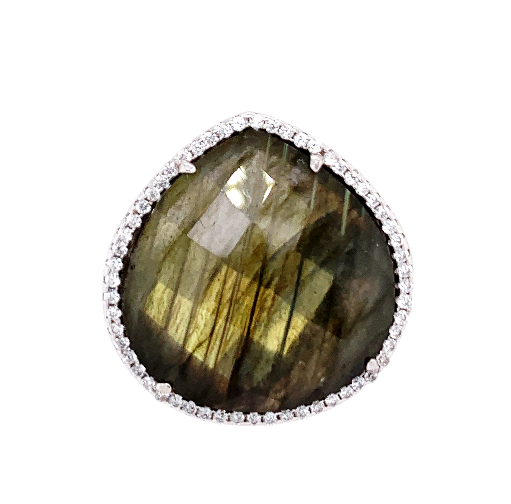 Labradorite Teardrop CZ 14kt Silver Ring GOLD google facebook pinterest