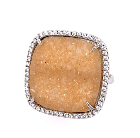 "Druzy ""Sand"" Sparkle Cushion Cut CZ Silver Ring google facebook instagram"