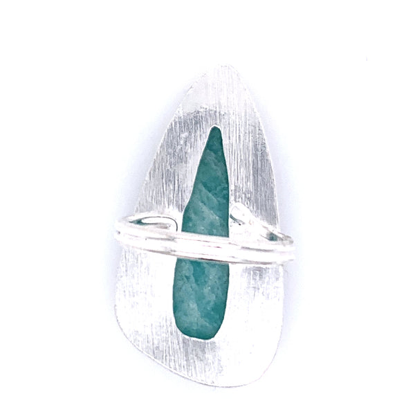Amazonite Jumbo Faceted Teardrop Silver Ring