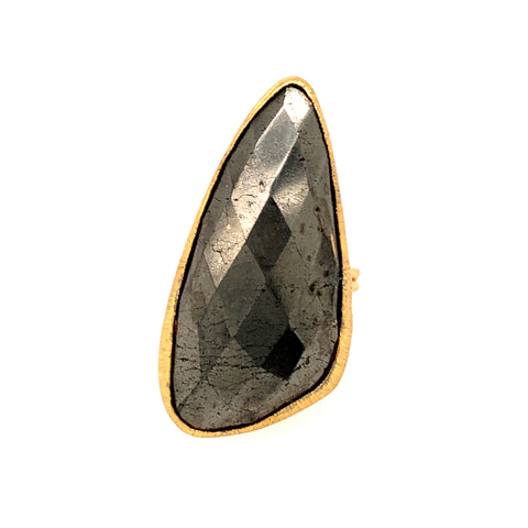 Pyrite Jumbo Faceted Teardrop Gold Vermeil Ring sexy google pinterest facebook