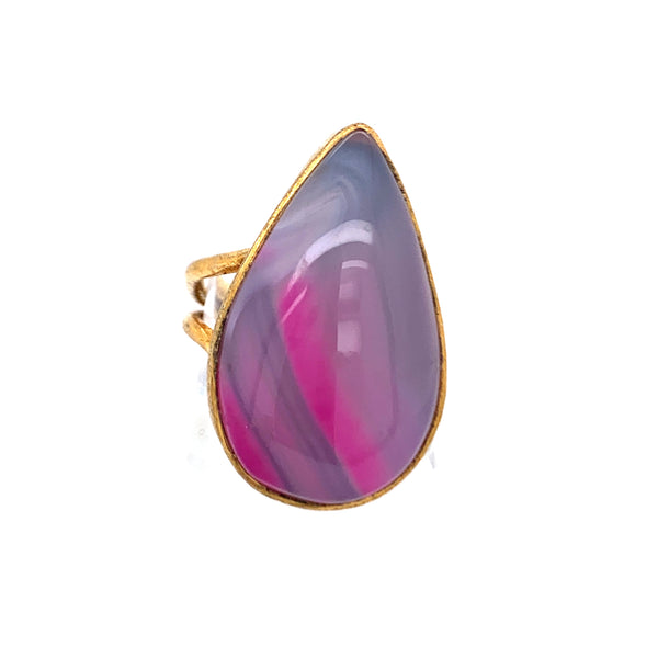 Pinkish Purple Agate Eloganted Teardrop 10kt Gold Ring