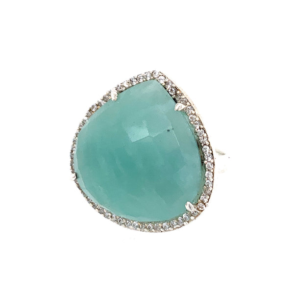 Amazonite Teardrop CZ Sterling Silver Ring lapis gold labradorite emerald