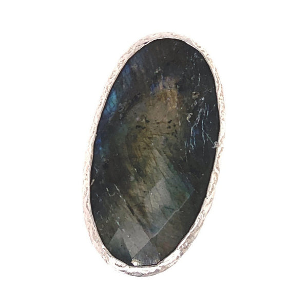 Labradorite Jumbo Faceted Oval Silver Ring google