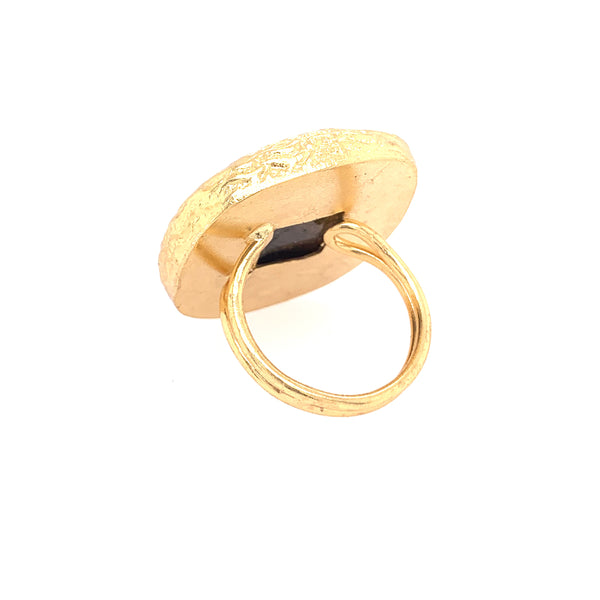 Black Onyx Large Cushion Cut Gold Ring silver google facebook instagram rose quartz labradorite