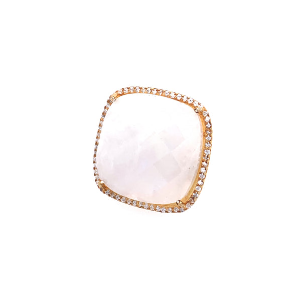 Rainbow Moonstone Cushion Cut with CZ Bezel Ring