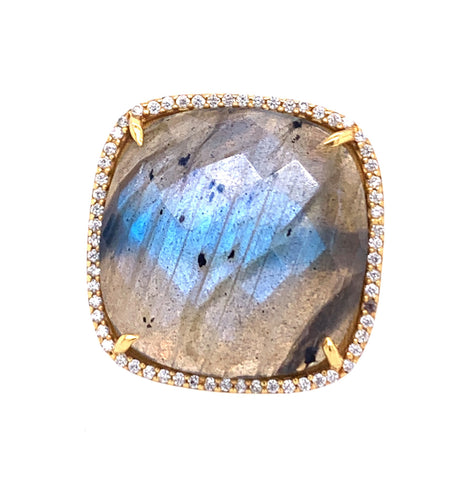 Rainbow Moonstone Cushion Cut with CZ Bezel Ring labradorite flash google facebbook