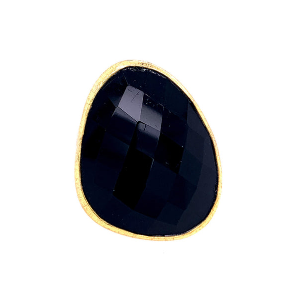 Black Onyx Large free form faceted flash Gold Ring silver google facebook instagram rose quartz labradorite lapis emerald