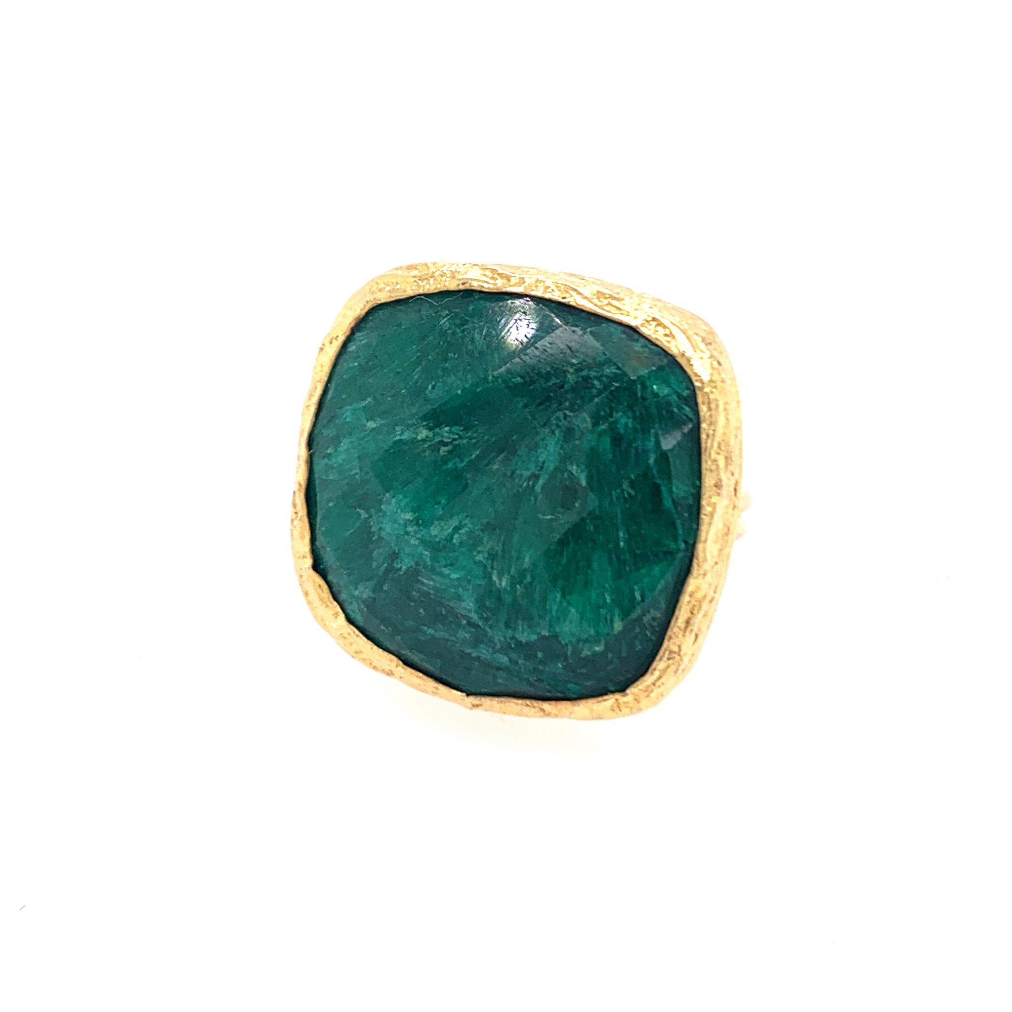 Emerald Small Cushion Cut Gold Ring
