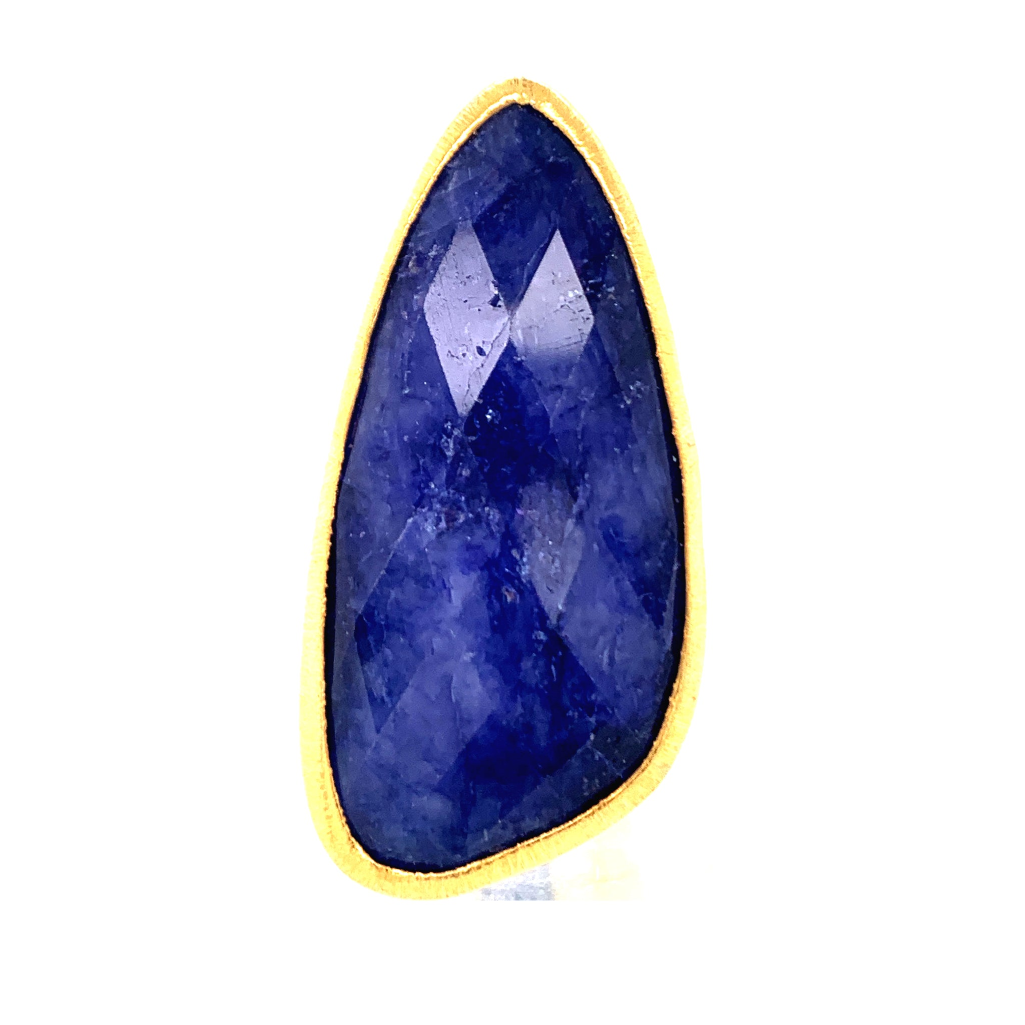 Lapis Jumbo Faceted Teardrop Gold Vermeil Ring