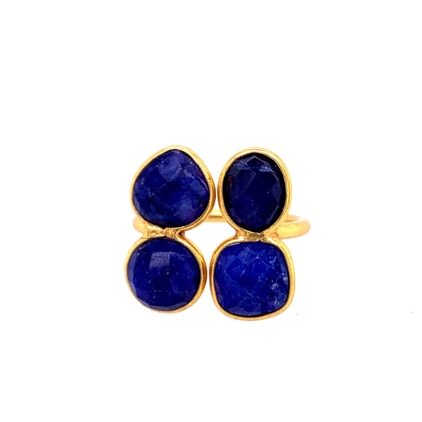 Four Faceted Semi Precious Stones 14kt Gold Vermeil Ring (over Sterling) ruby labradorite black onyx emerald lapis google facebook instagram