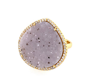 Druzy White Grey Spotted Teardrop CZ Gold Ring google pinterest facebook