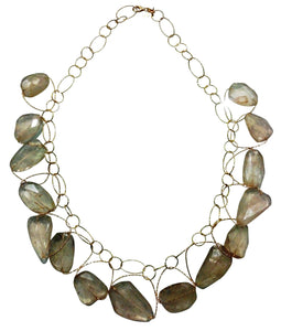 "Rutlilated Quartz ""Runway"" Multi Stone Necklace"