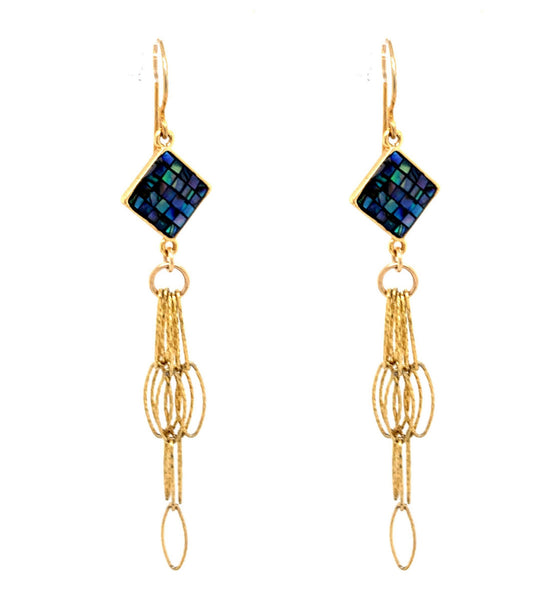 Abalone Navy Inlay Gold Tassel Bottom Earrings google facebook google youtube