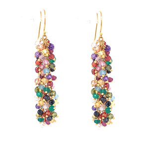 "Multi Color Gemstone ""Shimmer"" EarringSexy Long Large Stone Single Multi Color Gemstone ""Shimmer"" Earring silver gold google youtube facebook"