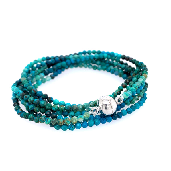 "Chrysocolla Multi Wear 52"" Long Necklace or Wrap Bracelet"