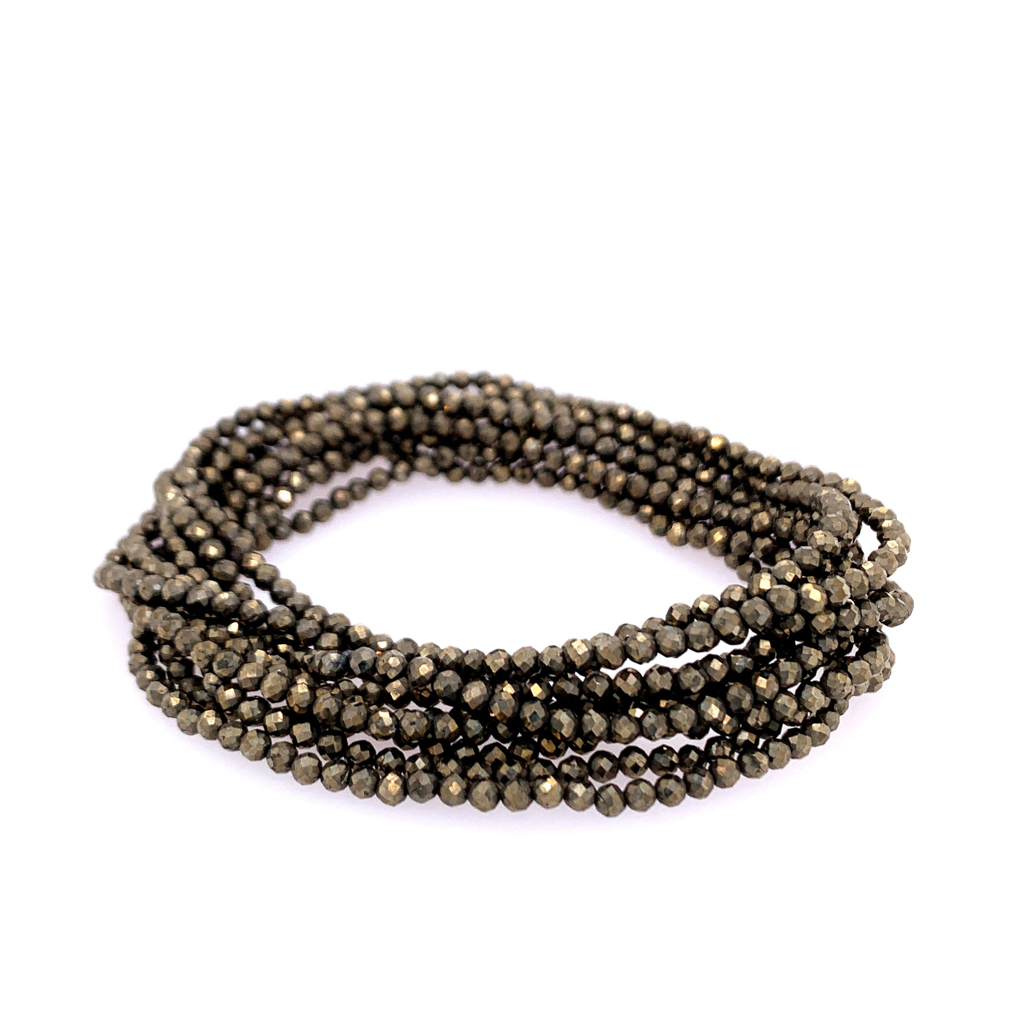 "Pyrite Faceted 68"" Infinity Long Necklace"