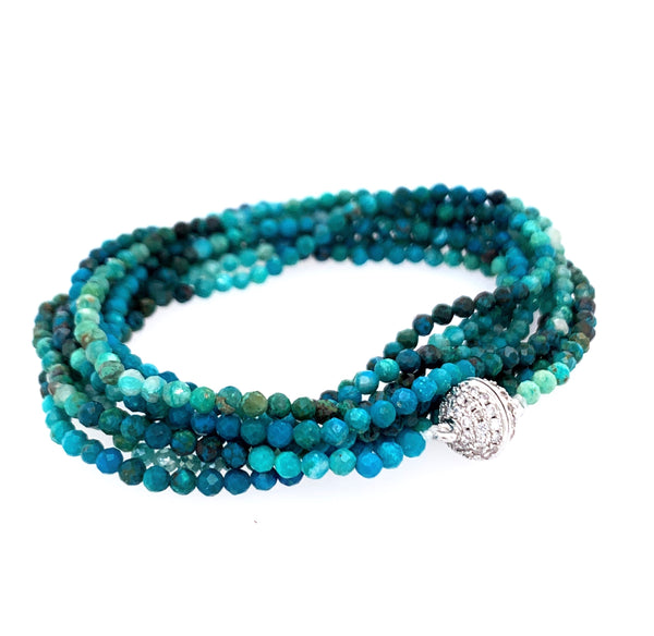 "Chrysocolla Multi Wear 52"" Long Necklace or Wrap Bracelet, Pave Gold"