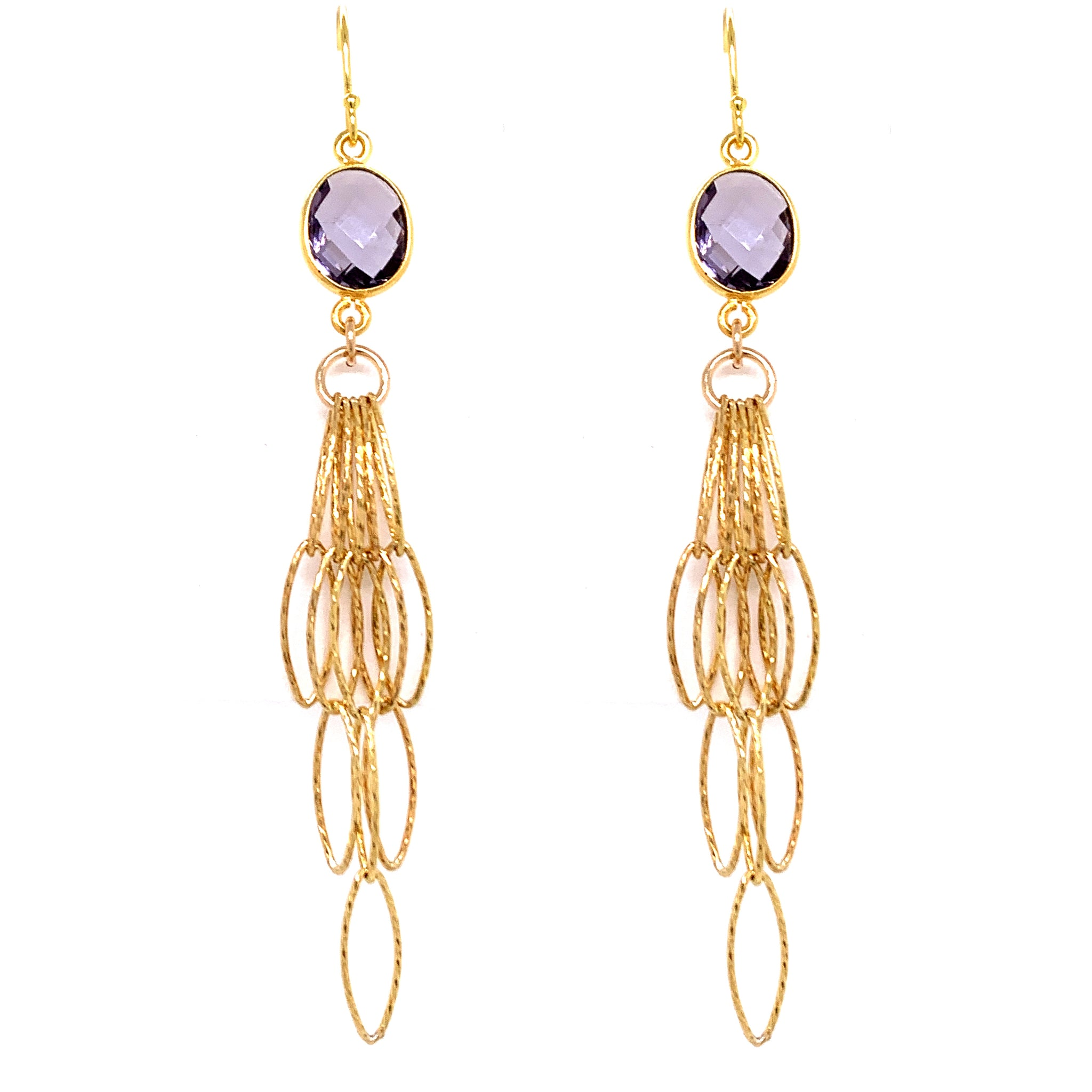 Lavender Amethyst Tassel Bottom Earrings