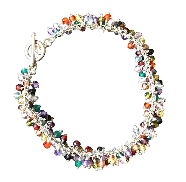 Multi Colorful Semi-Precious Stone Shimmer Bracelet, Gold