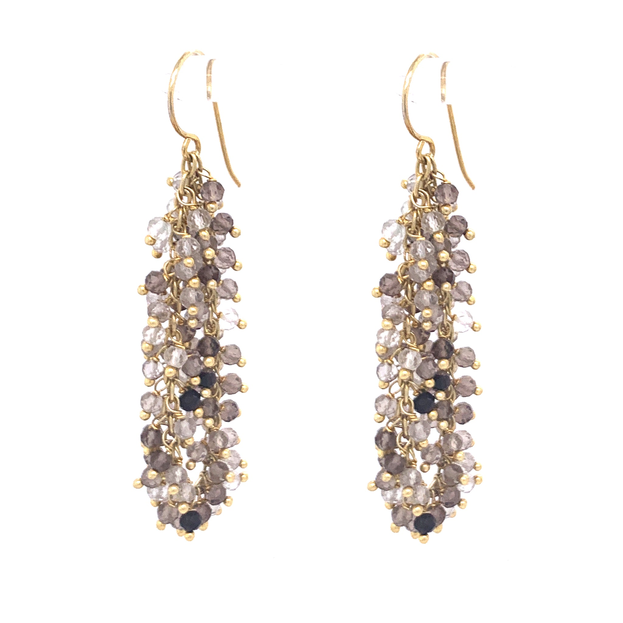 "Rutilated Quartz Gemstone ""Shimmer"" Earring, Gold"