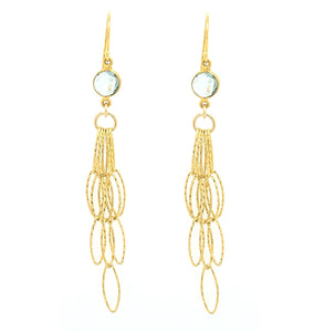 Blue Topaz AAA Gold Tassel Bottom Earrings