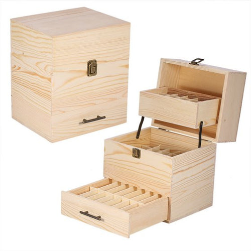 Essential Oil Box Essential Oil Roller Bottles Storage Box Case Container Three-layer Wooden Large