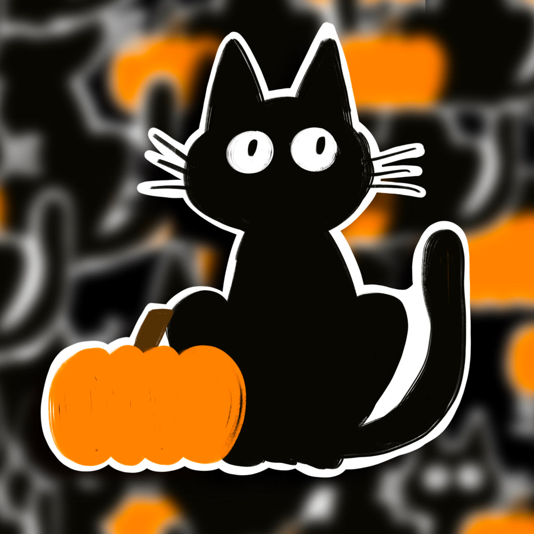 Spooky Halloween Cat Sticker  - Single Vinyl Sticker