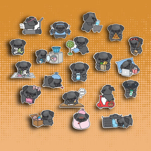 Black Pug Sticker Set