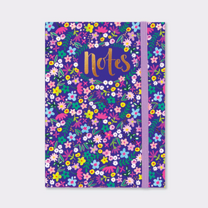 A6 Notebook – Navy Floral Notes