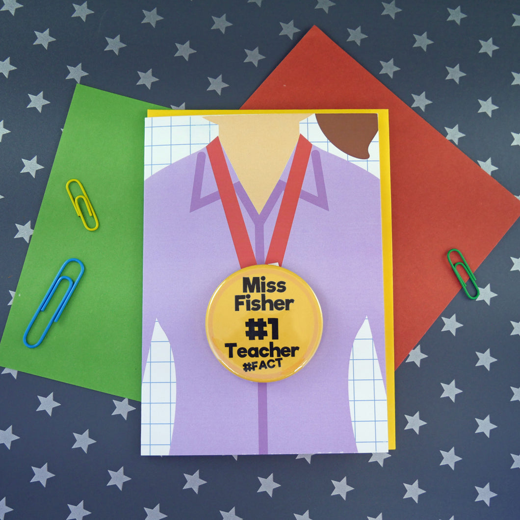 Personalised Teacher Card with wearable badge
