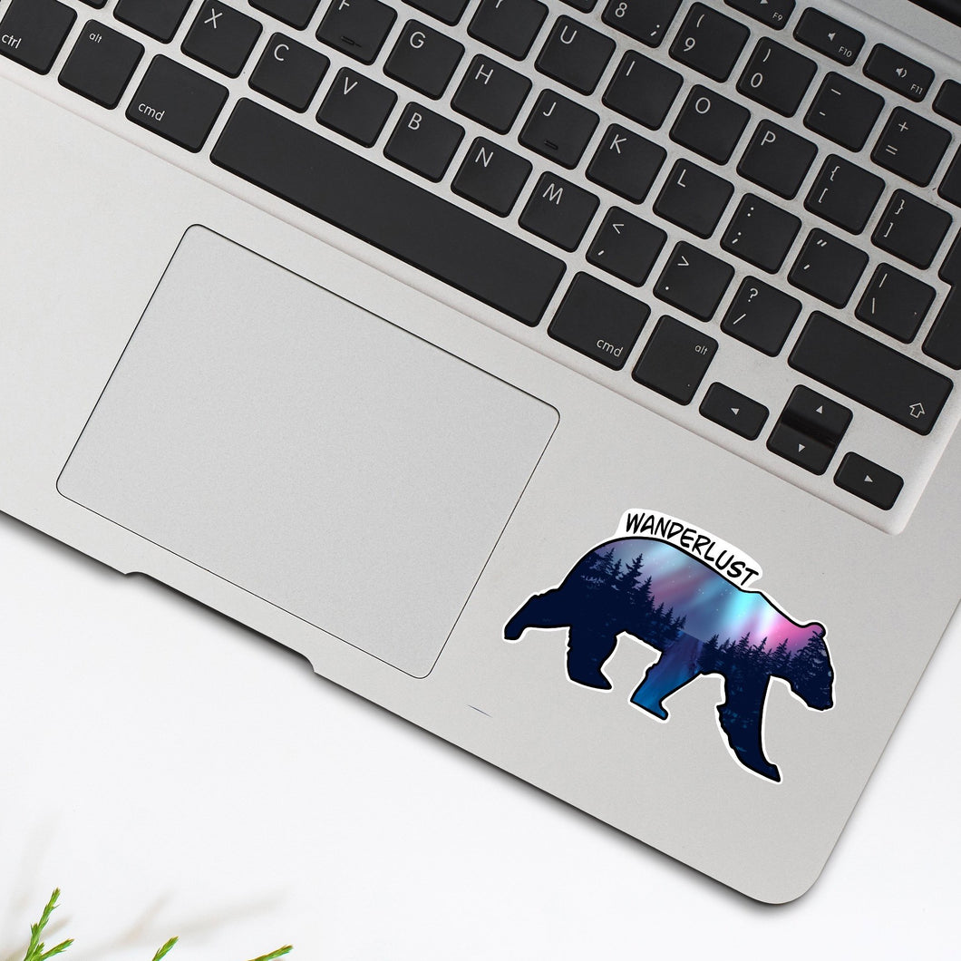 Wanderlust Bear Sticker - Single Vinyl Sticker