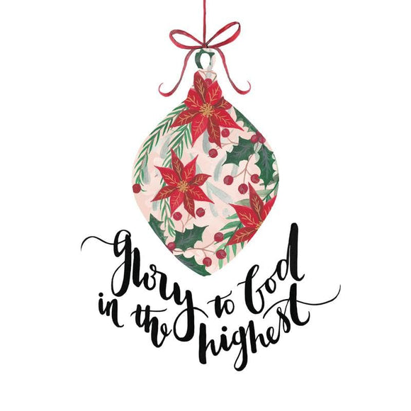 Glory to God in the Highest (Bauble) Christmas Cards (6floralbauble)
